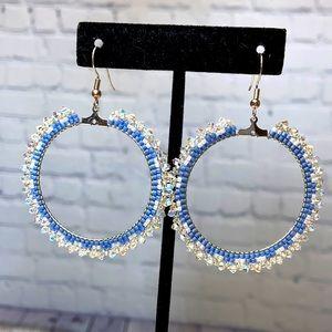 HANDMADE Hoop Beaded Crystal Boho Earrings